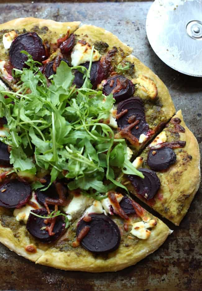 Beetroot and goat's cheese pizza with rocket - who knew beetroot would make such a great pizza topping!