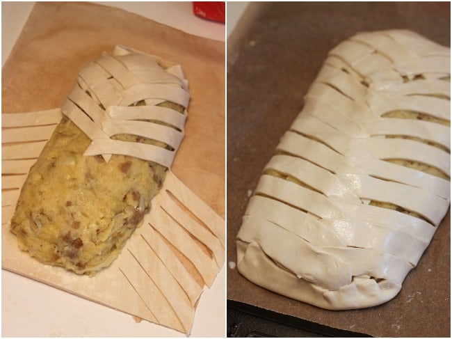 Cheese and onion plait - making the plait is so much easier than it looks! A great veggie option for Christmas Day