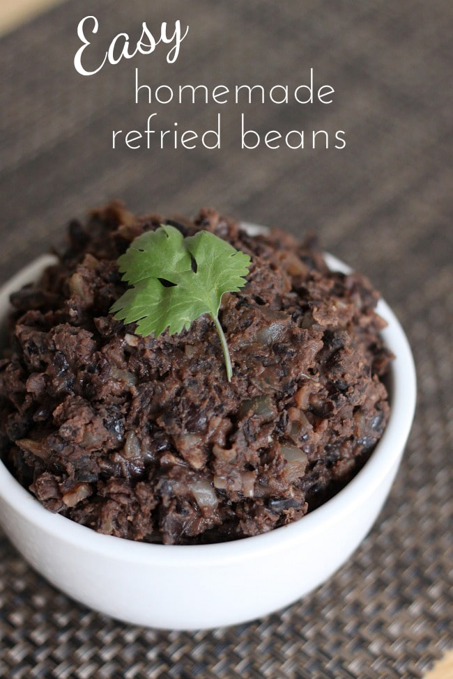 Easy homemade refried beans - these are super easy to make, and are way cheaper than the shop-bought version!
