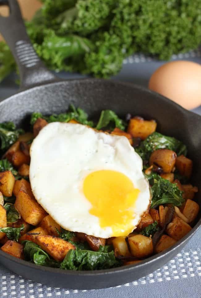 Kale and potato breakfast hash