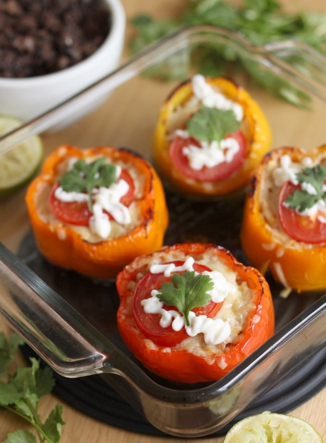 Mexican stuffed peppers with homemade refried beans - so easy, so yummy