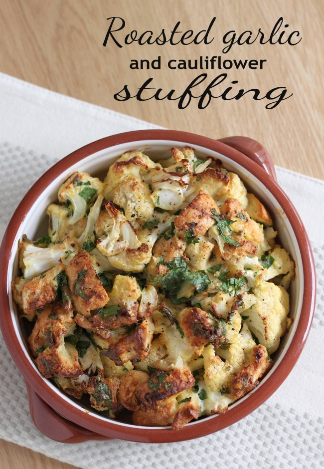 Roasted garlic and cauliflower stuffing - so tasty, and relatively low carb too!