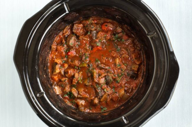 Ratatouille in a slow cooker.