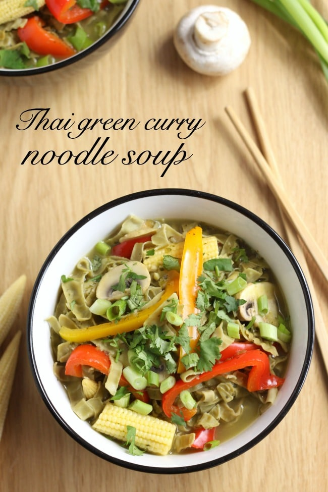 Thai green curry noodle soup - made with homemade Thai curry paste
