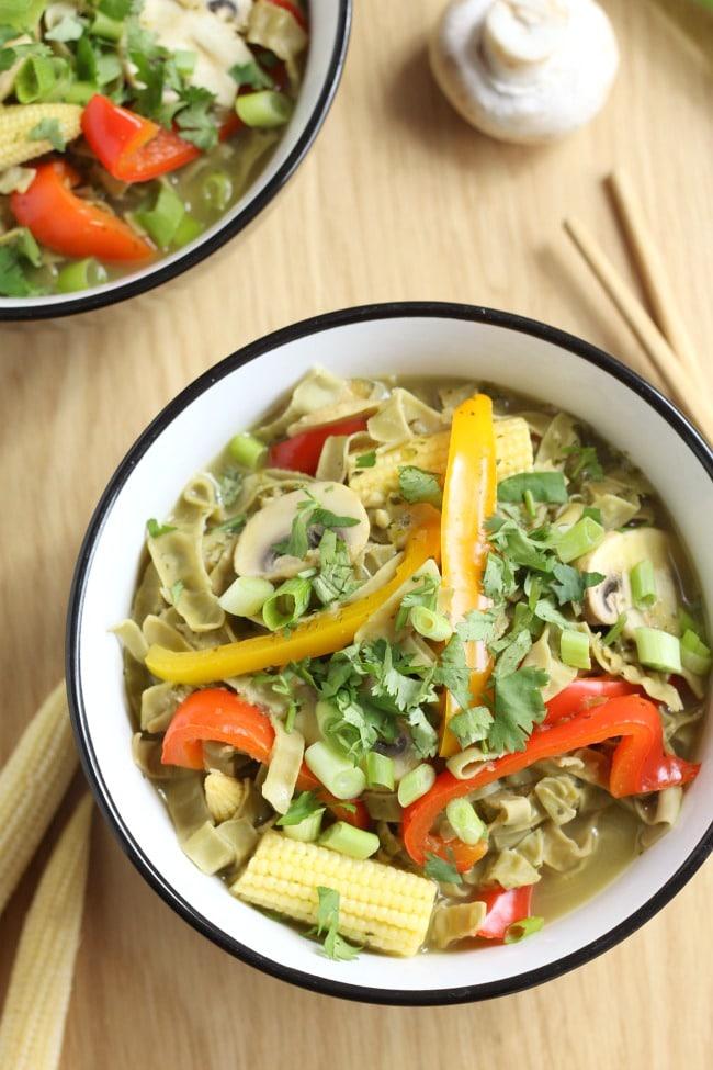 Thai green curry noodle soup