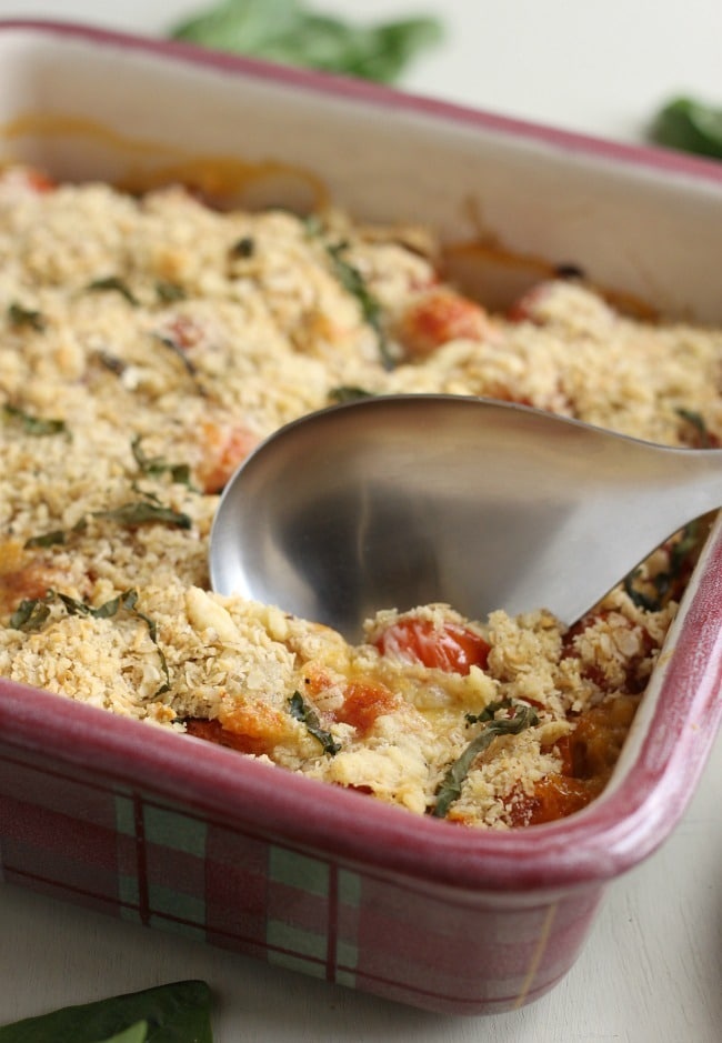 Cherry tomato crumble - with melty mozzarella and fresh basil! Utterly delicious.