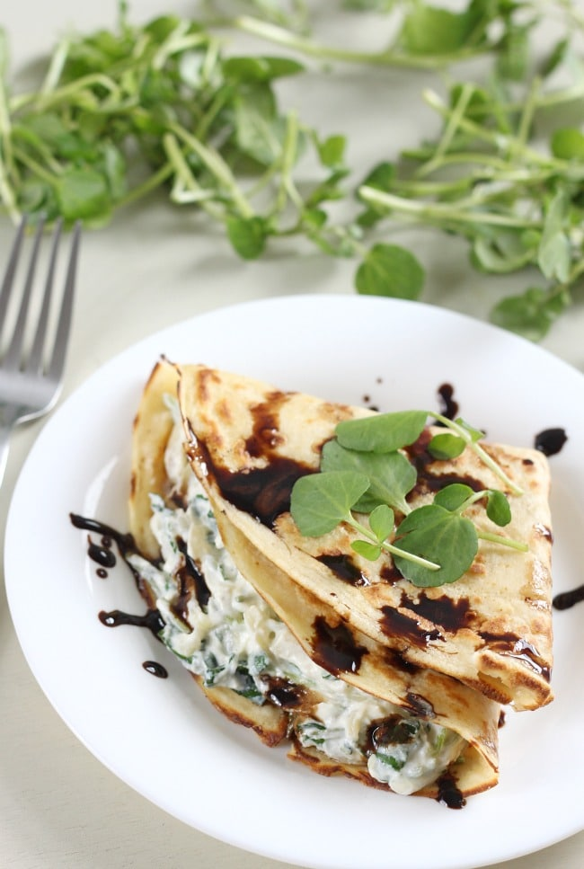 Creamy watercress stuffed crepes
