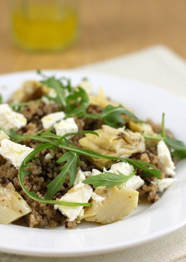 Artichoke and feta quinoa salad with an easy lemon dressing