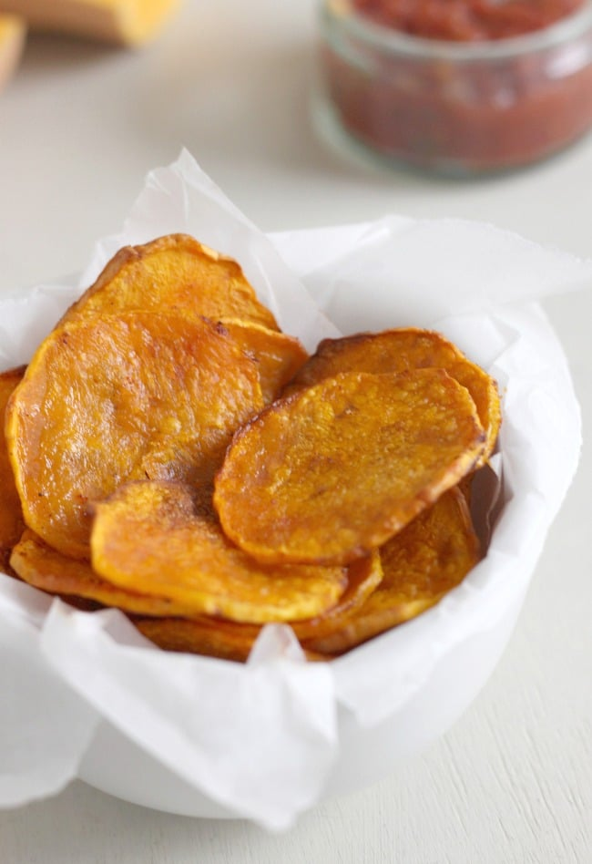 Baked butternut squash crisps - a healthier alternative to potato crisps!
