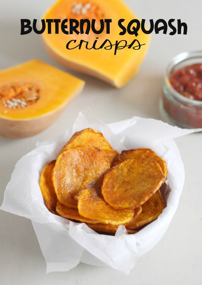 Baked butternut squash crisps - a healthier alternative to potato crisps!