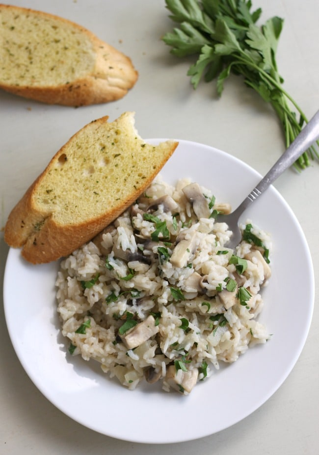 Cheater's 15 minute mushroom risotto - risotto in minutes!
