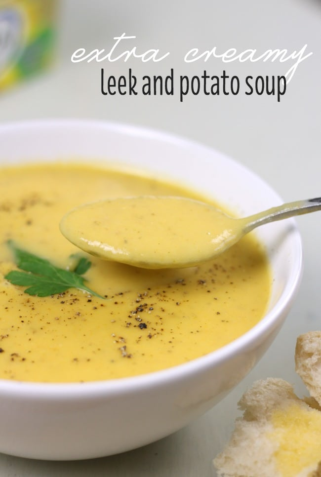 Extra creamy leek and potato soup - this soup is super creamy, but pretty healthy too! No cream in sight.