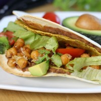Double decker chickpea tacos