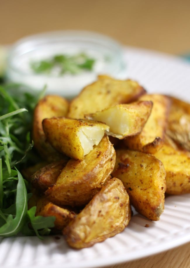 Indian spiced potato wedges with coriander lime yogurt - made in the Tefal Actifry, but easy to make in a normal oven too!