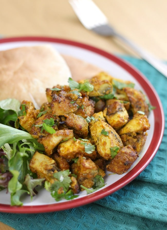 Tikka mushrooms - juicy roasted mushrooms in an easy tikka marinade.