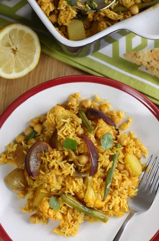 Easy chickpea biryani - serve with a veggie curry sauce, or just a dollop of mango chutney if you're feeling lazy!