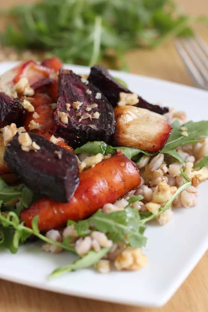 Pearl barley salad with roasted beetroot and maple balsamic dressing