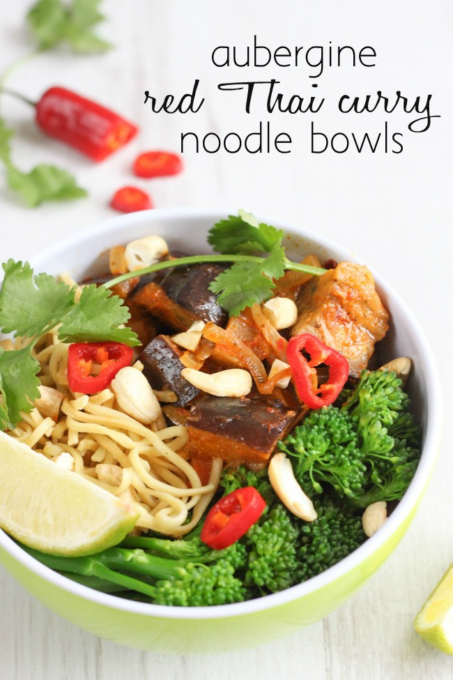 Aubergine red Thai curry bowls - it's all about the garnish!