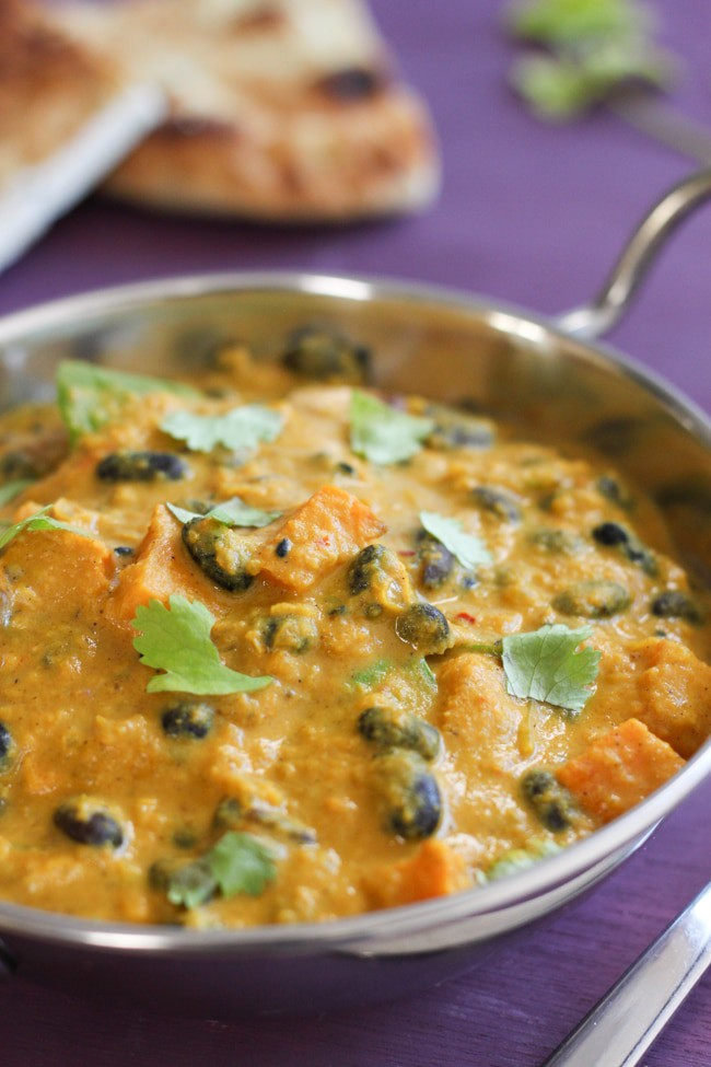 Butternut squash and black bean dopiaza - I finally learned the secret to making a creamy, slightly sweet curry sauce! :)