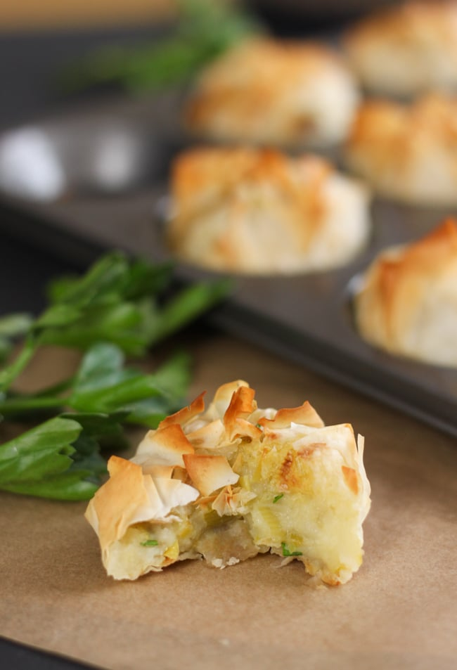 Homity pie bites - cute little versions of the traditional British cheesy leek and potato pie!