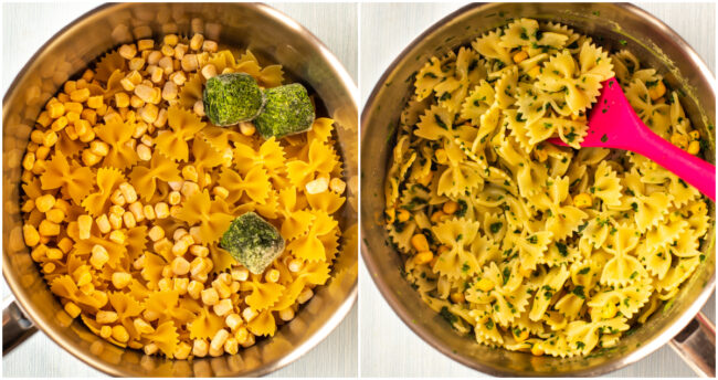 Pasta cooked with frozen sweetcorn and frozen spinach.