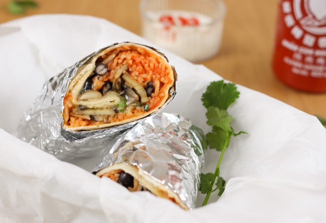 Garlic mushroom burritos with sriracha rice