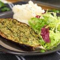 Pesto crusted aubergine