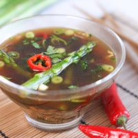 Kale and asparagus Asian broth with spelt