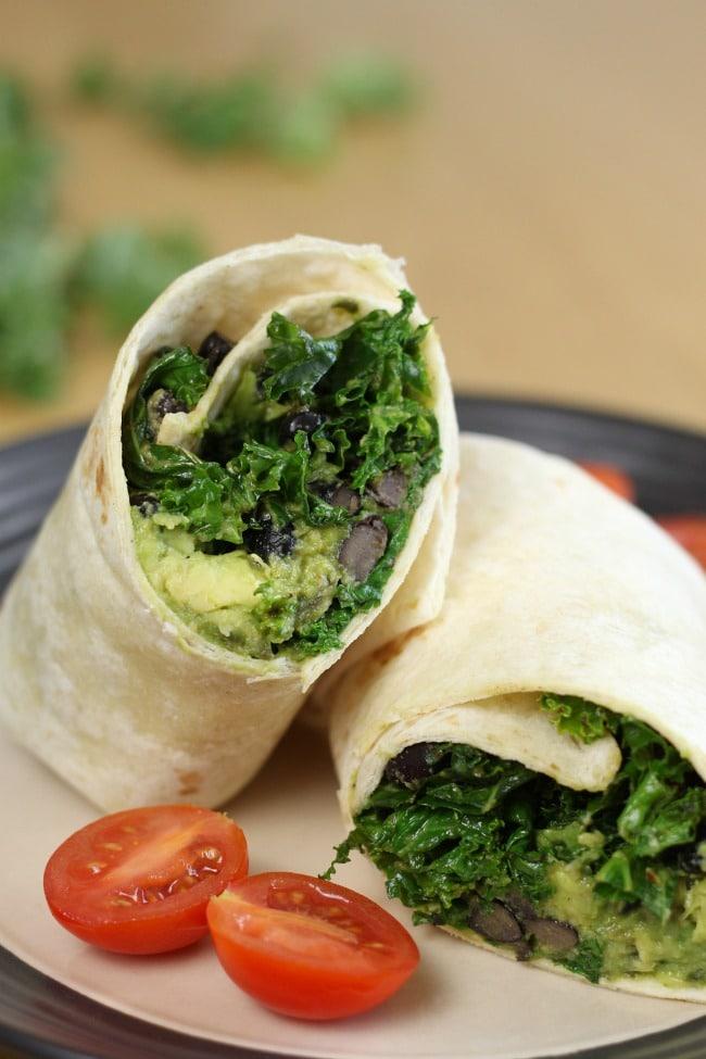 Kale and avocado burritos