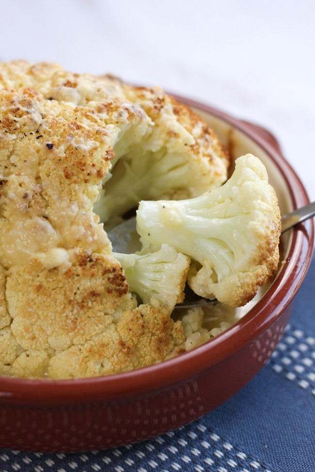 Whole roasted cauliflower cheese - you get the beautiful flavour of the roasted cauliflower, and just enough cheese sauce to feel like a treat without ruining your diet!
