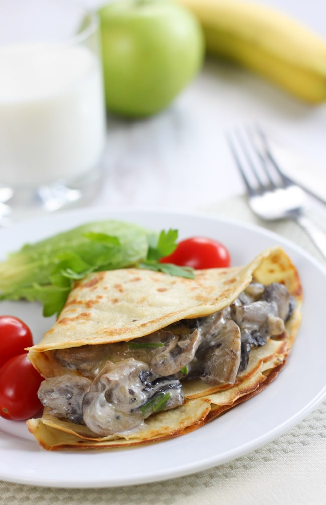 Creamy mushroom stuffed crepes - I bet you've got most of the ingredients for these crepes in your kitchen already!