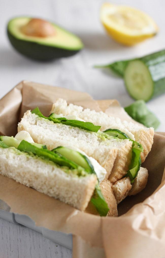 Green goddess sandwiches - creamy avocado spread, crunchy cucumber and baby spinach, and fresh mozzarella. Unbelievably tasty!