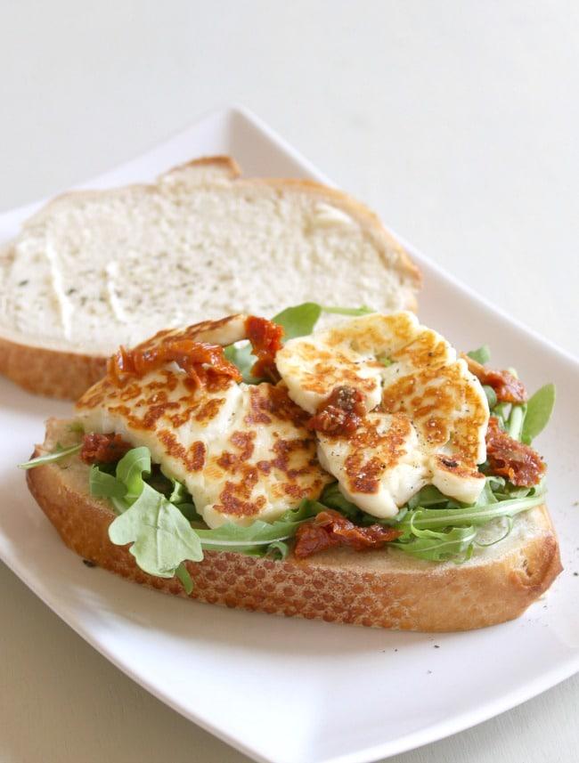 Halloumi, sun-dried tomato and rocket sandwich