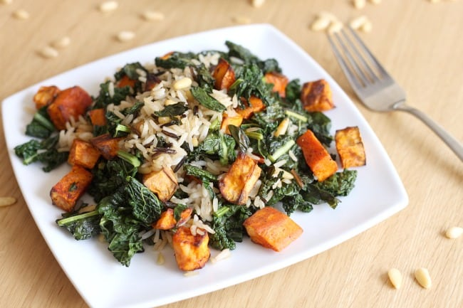 Wild rice and kale salad with smoky sweet potatoes