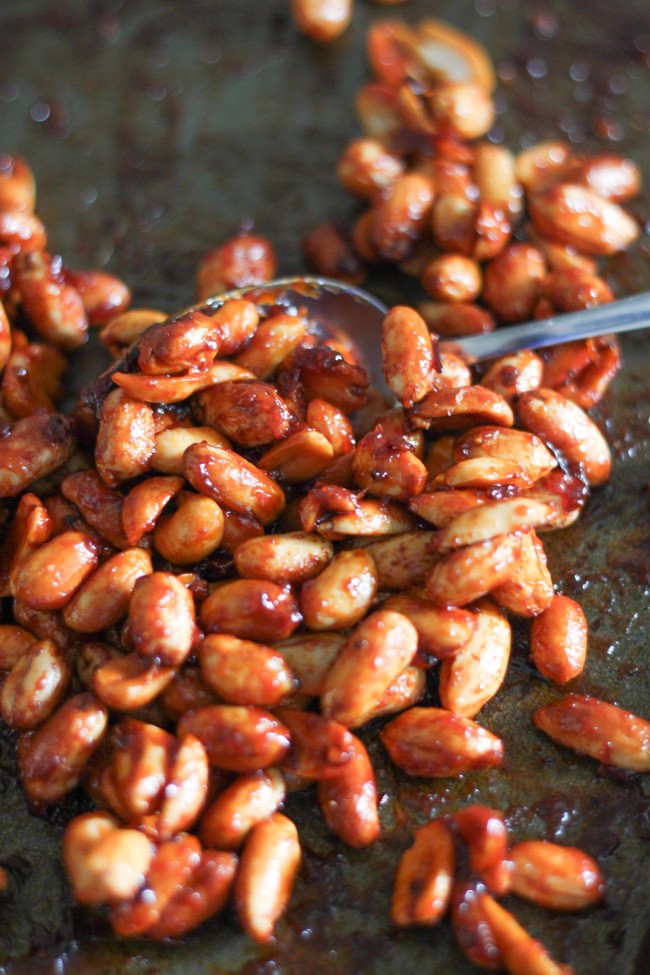 Honey chipotle roasted peanuts - sticky, smoky, spicy, sweet... these are the perfect snack!