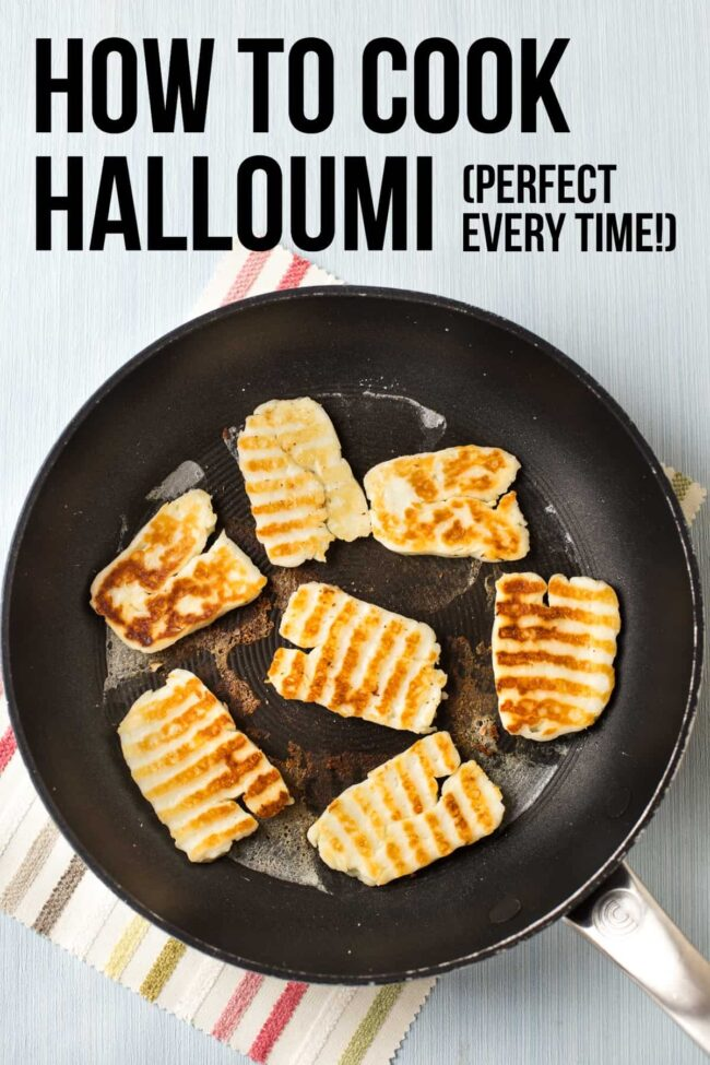 Slices of fried halloumi in a frying pan.