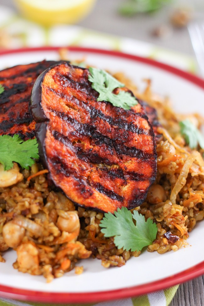 Moroccan freekeh with harissa aubergine - a super tasty vegan meal in just 30 minutes!
