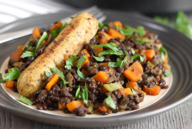 Sausage and puy lentil vegetarian cassoulet - a veggie version of the classic French dish. On the table in half an hour!