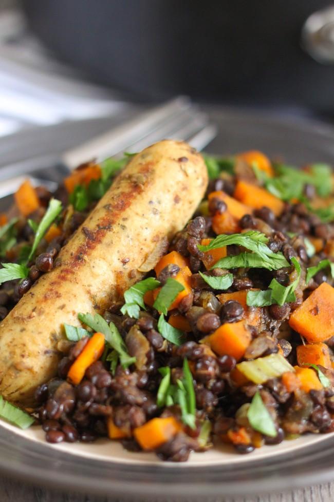 Lentil And Garlic Sausage Cassoulet Recipe — Dishmaps