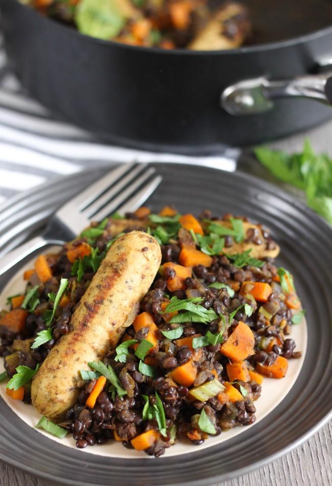 Sausage and puy lentil vegetarian cassoulet
