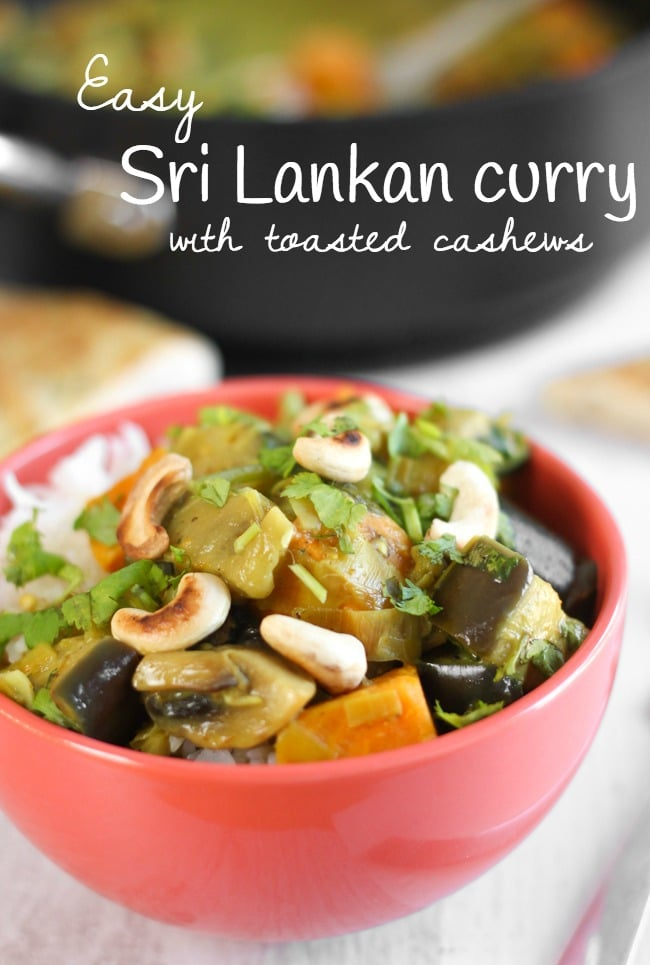 Easy Sri Lankan curry, topped with toasted cashews and fresh coriander. This is so easy to make but it has HEAPS of flavour!