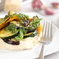 White bean mash with griddled vegetables and homemade pesto