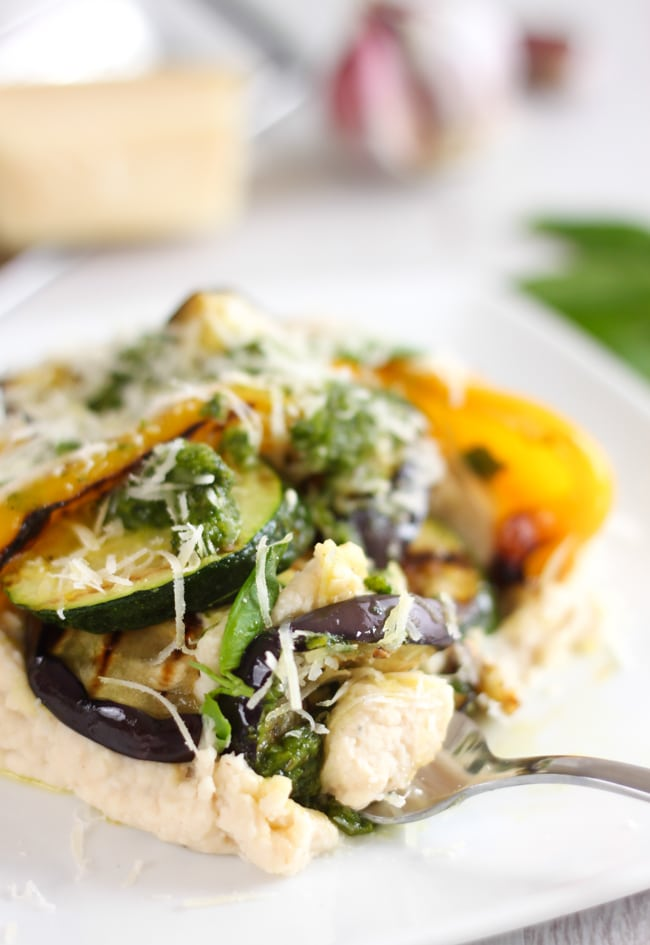 White bean mash with griddled vegetables and homemade pesto - a hearty dinner that's got amazing flavour.