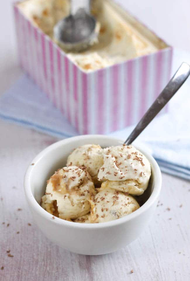 Banoffee no-churn ice cream - this homemade ice cream is SO good, and so easy - you don't need any fancy equipment! Just throw it in the freezer, and the next day you'll have homemade ice cream that rivals even the best shop-bought brands.