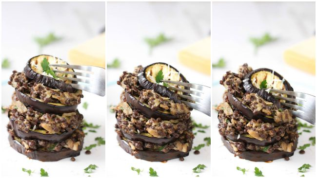 Creamy lentil and aubergine stack - simple to make, easy to stack, and very fun to knock over!