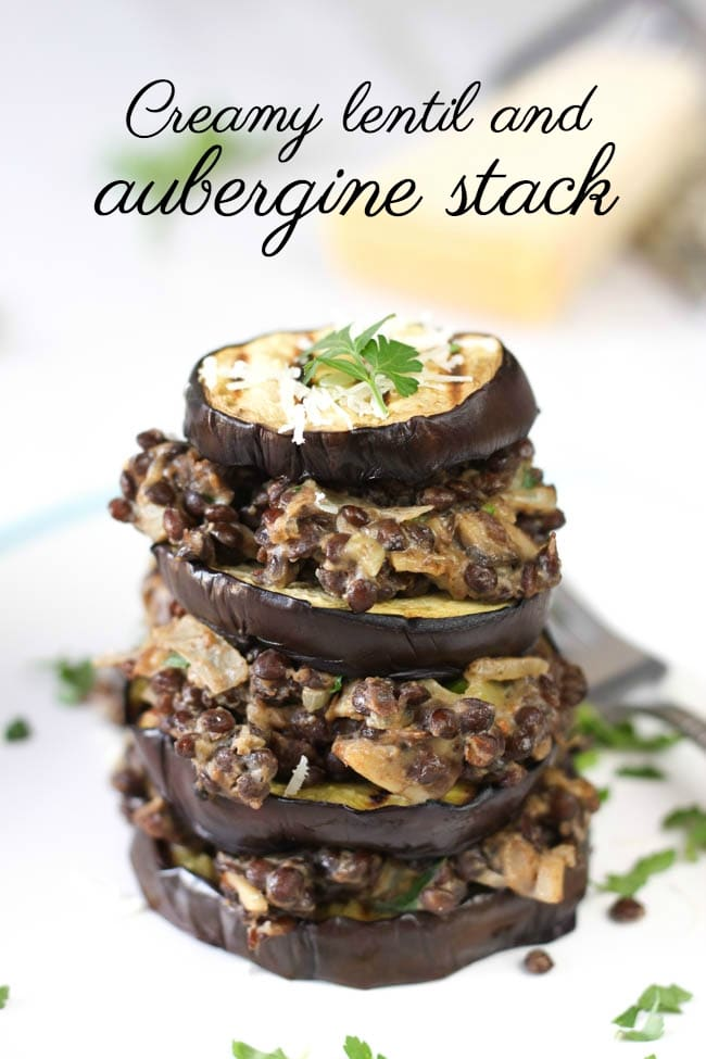 Creamy lentil and aubergine stack