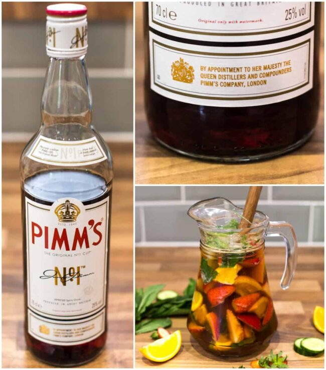 Collage showing a Pimm's bottle, the Queen's seal of approval, and a jug of Pimm's.