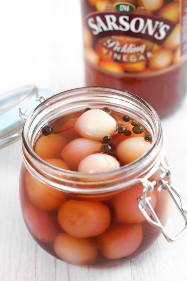 Homemade pickled onions! These can be made in just a couple of hours (mostly hands-off time) - you don't need to leave them in the pantry for months! So easy. I served mine with beer battered halloumi and homemade tartar sauce.