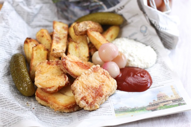Beer battered halloumi with homemade pickled onions and homemade tartar sauce - a proper British street food feast!