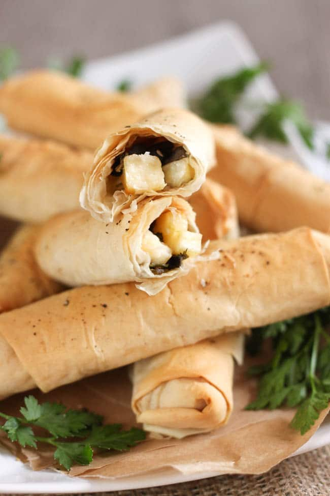 Black olive and halloumi filo cigars - these are so good for serving alongside a healthy salad to make it feel like a bit more of a treat!